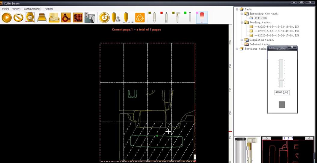 CutterServer est un logiciel permettant de définir les paramètres des outils et de modifier les tâches de coupe.